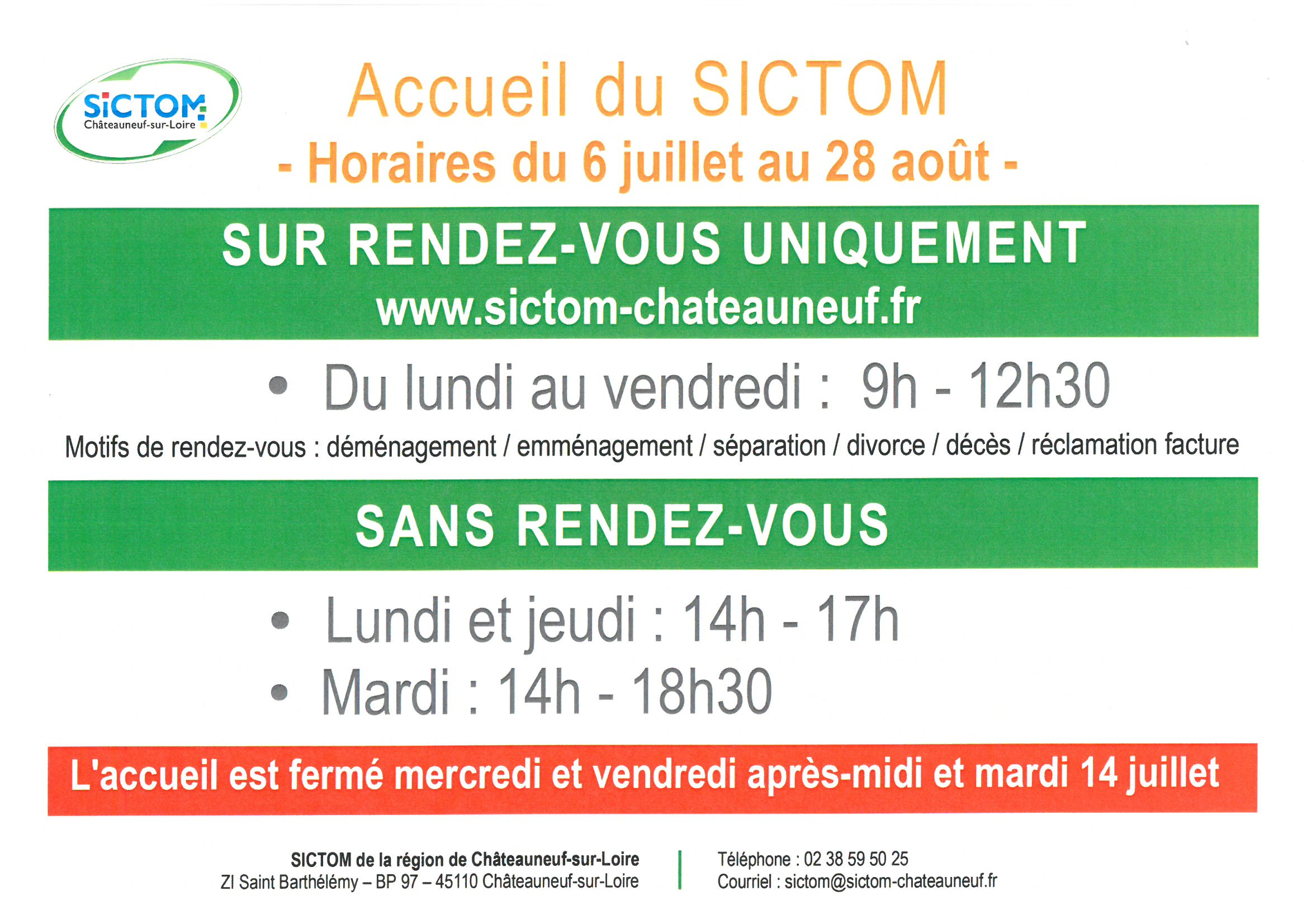 horaires SICTOM